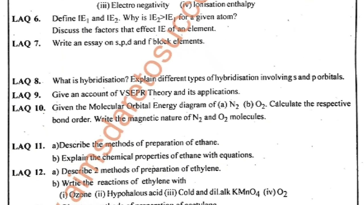 IMP QUESTIONS 2018 inter 1st year chemistry ts and ap state all important  questions 2018