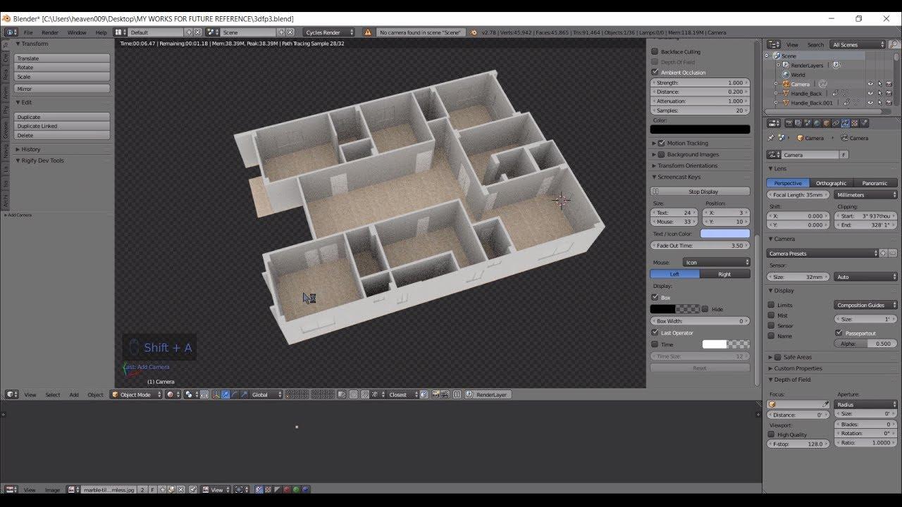 Blender Timelapse Creating A 3d Floorplan From 2d Cad