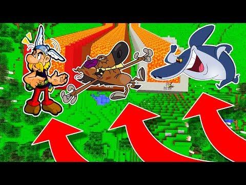 NE DESCENDEZ PAS DANS LE MAUVAIS TOBOGGAN DE LAVE MINECRAFT !! Astérix Zig Sharko !