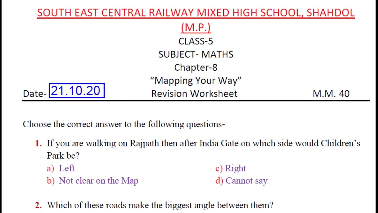 hight resolution of NCERT CLASS-5 MATHS CHAPTER-8 \Mapping Your Way\ Revision Worksheet  M.C.Q.{Test Your Knowledge} - YouTube
