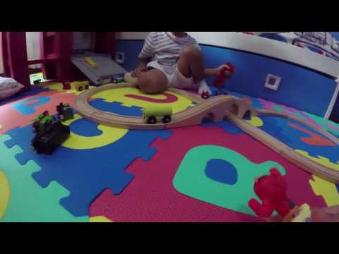 playing-wooden-train-thomas-&-friends-train-garbage-truck-excavator-angry-birds-mcqueen-slide