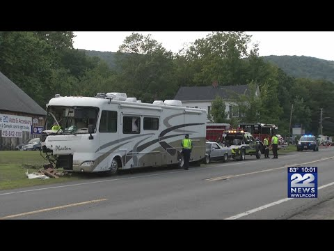 One person taken to hospital after RV vs  utility truck accident on