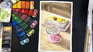 🔴Easy Watercolor Paint With Me Cozy Cup, Book & Tablet