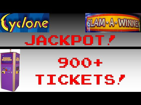 Jackpot on Cyclone and 2 Bonus Plays on Slam a Winner three times and 900+ Tickets Count Record
