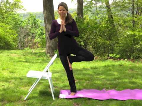 modified tree pose chair yoga  yoga therapy  youtube