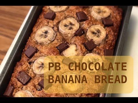 Healthy Peanut Butter Chocolate Banana Bread Recipe (Gluten Free)