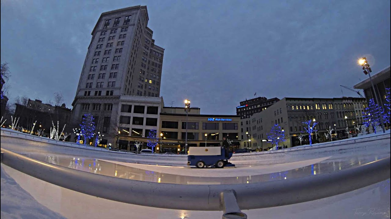 Ice Skating In Downtown Grand Rapids, Michigan. Rosa Parks