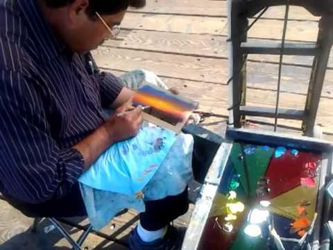 artist at Santa Monica pier