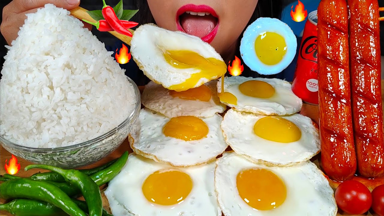 ASMR SPICY CHICKEN SAUSAGES, FRIED EGGS, HOT CHILI, RICE 먹방 MUKBANG MASSIVE Eating sounds