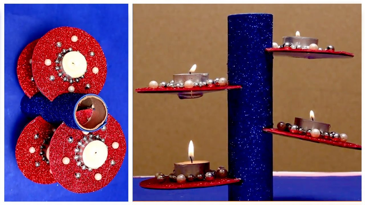 DIY Creative Ways To Reuse Old CD   How to Make Diwali Candle Holder From Old CD   Best Out Of Waste