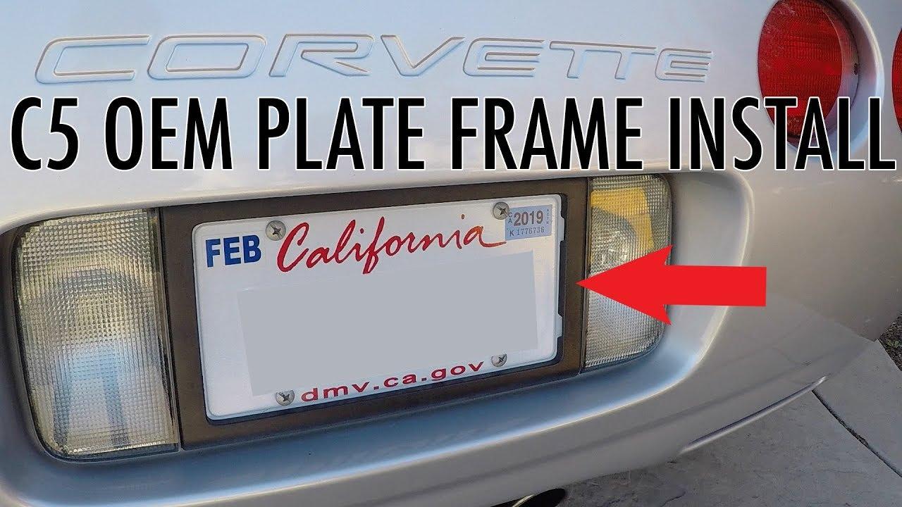 C5 Corvette OEM Rear License Plate Frame Install - YouTube