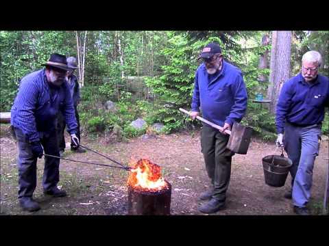 Iron-making Bloomery furnace in Haelltjaern, Jaerbo, Sweden 8-9 juni 2013