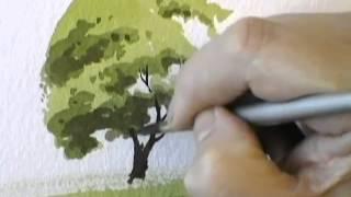 Рисуем акварелью простое дерево