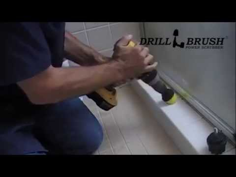 how to clean tile fast with a power drill and brush