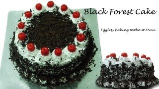Black Forest Cake Recipe Without Oven - Cooker Cake | Eggless Baking without Oven