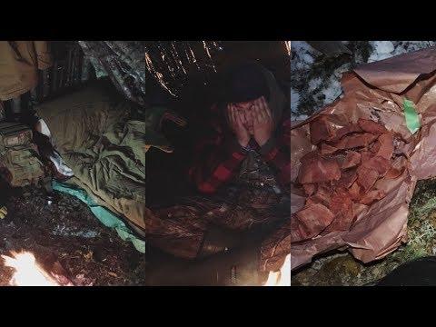 Winter Overnighter In Bushcraft Shelter. Moose Meat