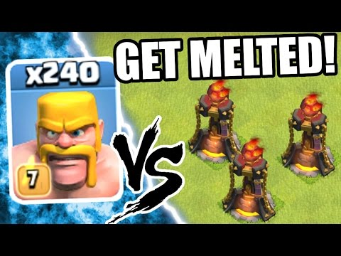 Clash Of Clans - 240 BARBARIANS GET MELTED!!! - INSANE TROOP DESTRUCTION!