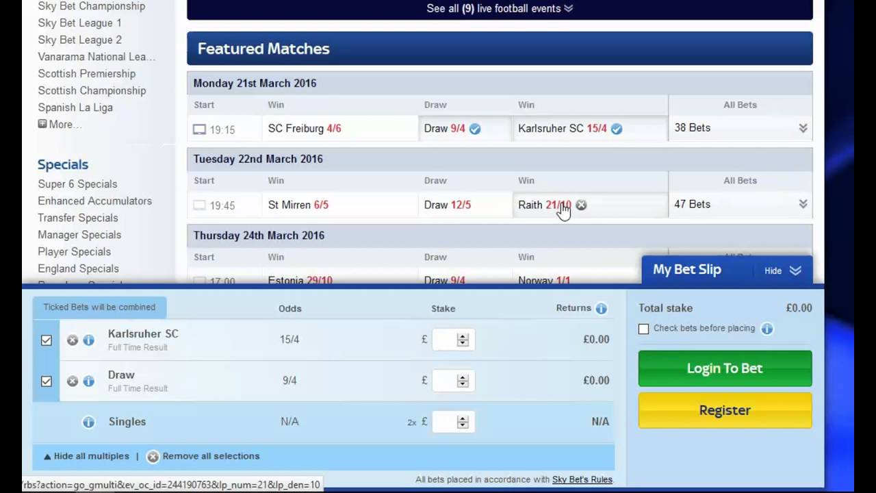 Placing a System X2 multiple bet using Sky Bet #1