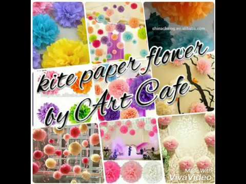 art cafe Kite paper easy making flower How To Make Round Tissue Paper Flower