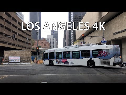 Driving Downtown - LA's Financial District - Los Angeles California USA