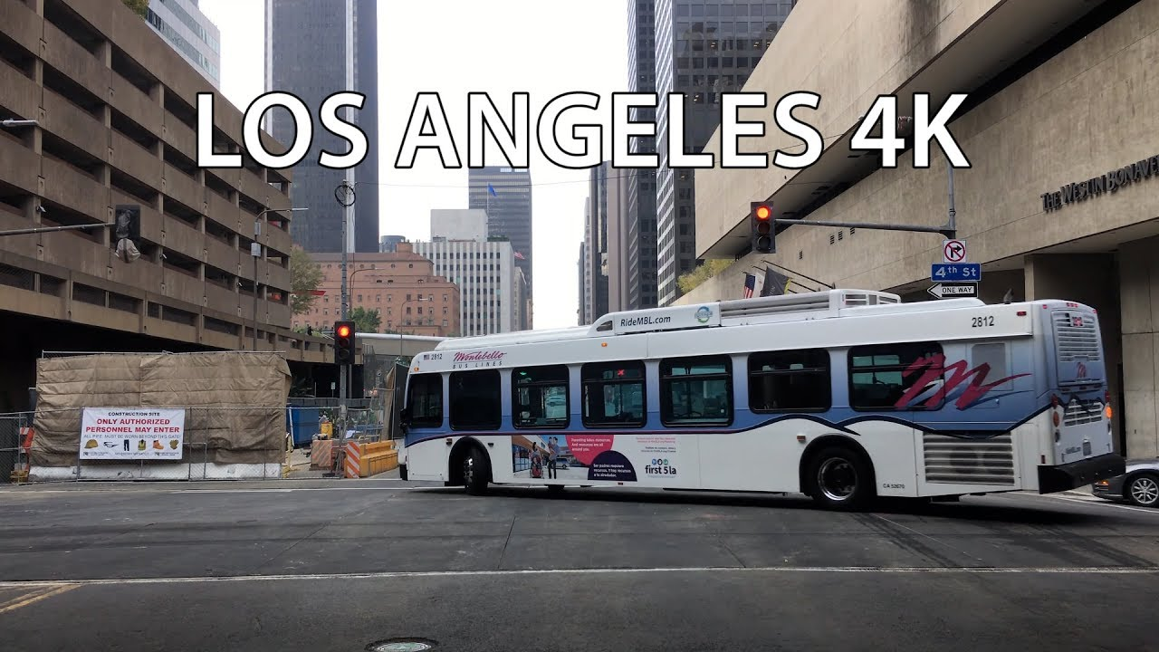 Driving Downtown - Finance District 4K - Los Angeles USA