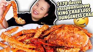 KING CRAB LEGS + DUNGENESS CRAB SEAFOOD BOIL MUKBANG 먹방 EATING SHOW!