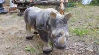 Садово-парковая скульптура Носорог и Гном фигуры животных купить для квартиры сада дачи дома