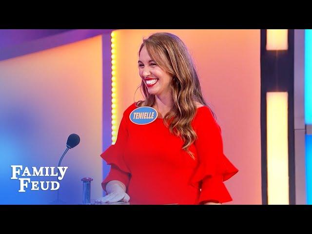 Tenielle's answer makes Steve Harvey blush!   Family Feud
