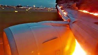Горит самолет при посадке в аэропорту Видео посадки горящего самолета Авиакатастрофа в Шереметьево