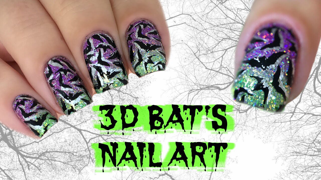 EASY DIY GLITTER GRADIENT + DOUBLE STAMPED BATS NAIL ART ...