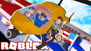 WE ESCAPED FROM THE PRISON HELICOPTER!! -Roblox Police and thief