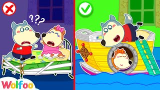 Wolfoo Makes A New Room with Dad - Jumping on the Bed  Wolfoo Family Kids Cartoon