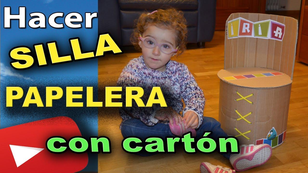 COMO HACER UNA SILLA PAPELERA DE CARTÓN PARA NIÑOS - YouTube
