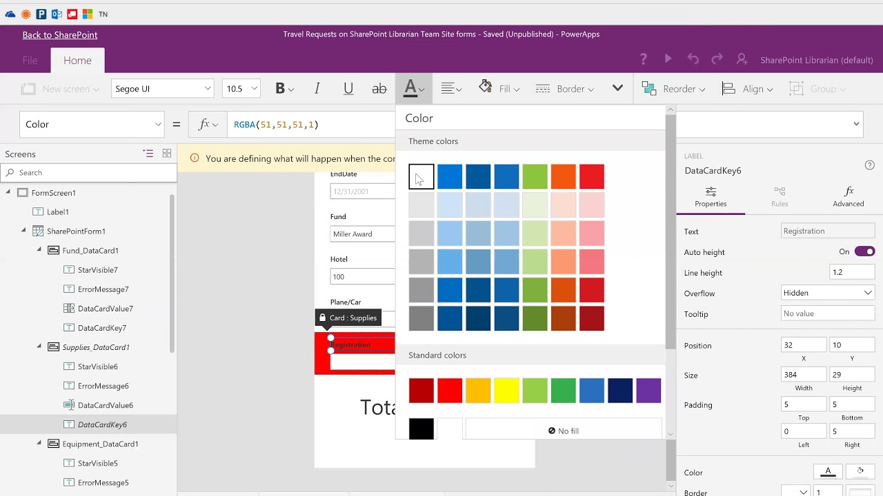 Conditional formatting & rules when customizing SharePoint forms with  PowerApps