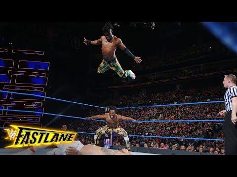 Kofi Kingston stuns Jey Uso with a splash from the top rope: WWE Fastlane 2018 (WWE Network)