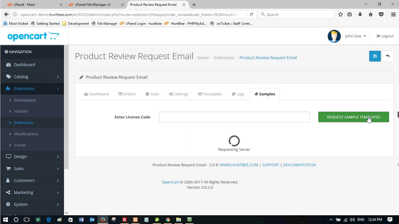 Installing Post-Purchase Order / Product Review Request Email Extension for  OpenCart