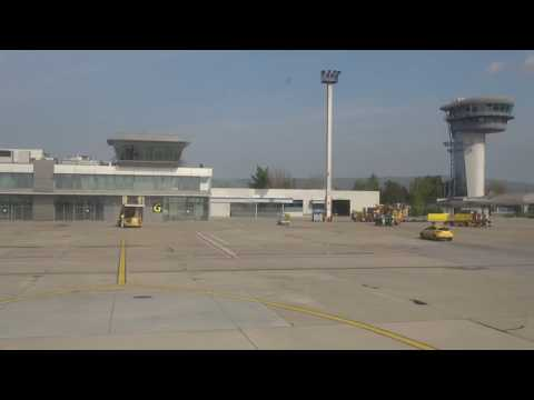 Landing And Taxi At Bratislava Airport, Slovakia - April 2017