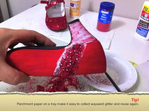 DIY Red Glitter Shoes