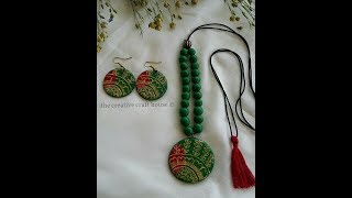 Diy how to make trendy very easy clay necklace at home using mouldit/m-seal/shilpkar/air dry clay