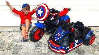 Senya buying a Captain America Bike for Kids .