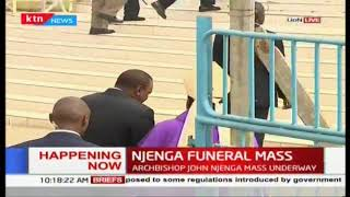 President Uhuru arrives at the late Archbishop Njenga's funeral mass