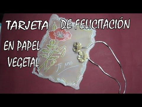 Diy tarjeta de felicitaci n en papel vegetal youtube - Como hacer tarjetas para comunion ...