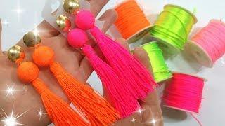 diy brincos neon com fio de seda
