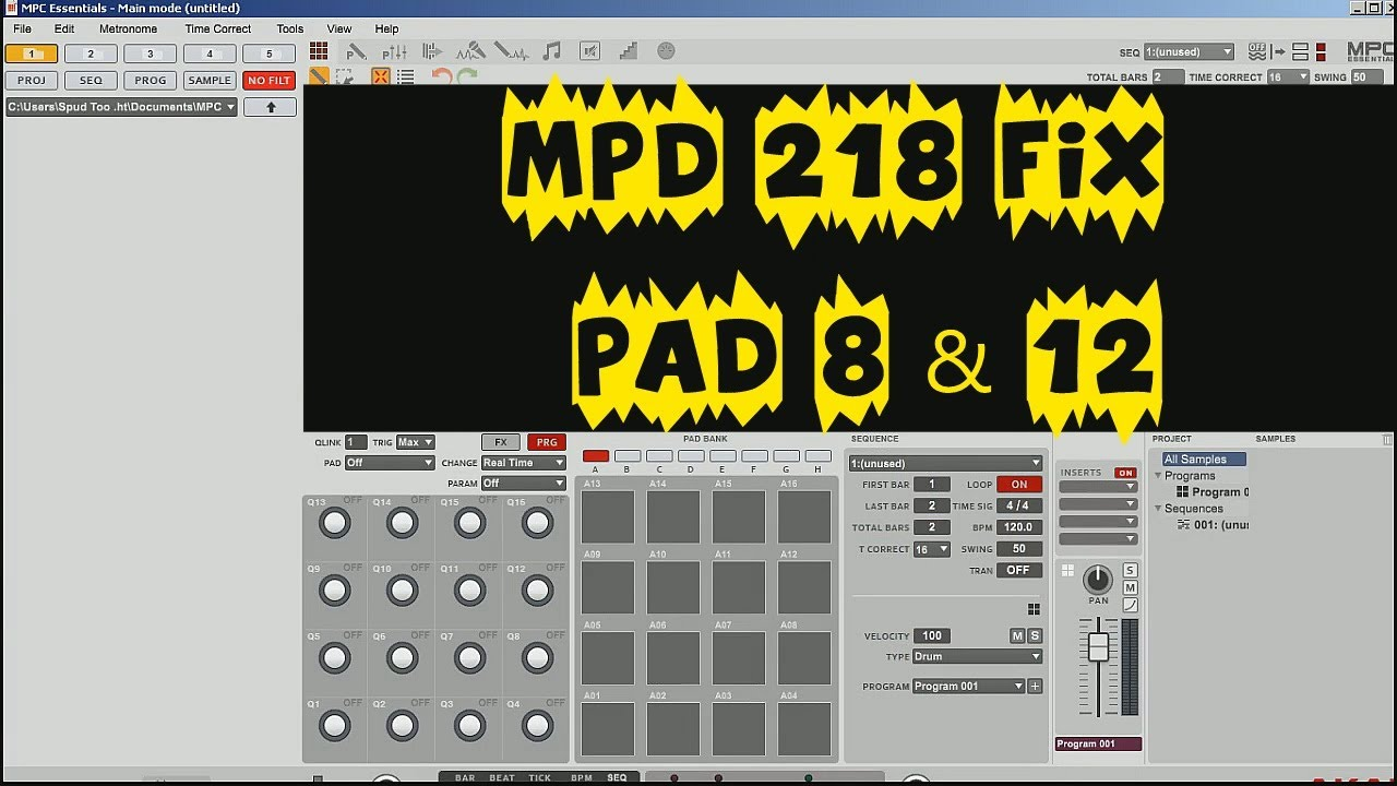 Akai MPD 218 Drum Pad fix for Pad 8 & 12 & Studio One Impact by Spud Too  Tight