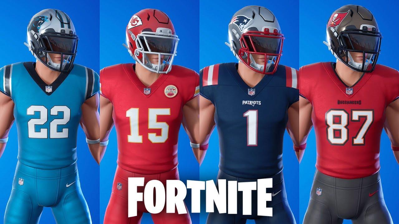 Fortnite Nfl Song In Super Bowl Fortnite All Nfl Skins From 2020 Nfl Gridiron Gang Youtube