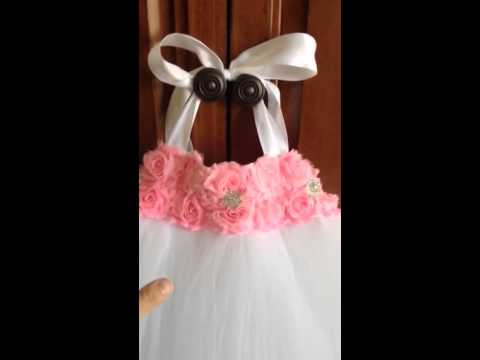 Pink And White Flower Girl Dress - Tutu Dress