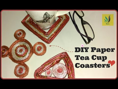 Teacup Coasters using paper || DIY paper tube crafts | EP-12