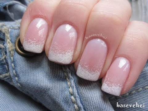 French almond nails ombre glitter - Easy Ombre French Manicure Nail Art Basevehei Youtube
