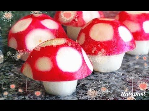 Art In Super Mario's Radish Mushroom   Radish Flowers - Vegetable Carving Garnish