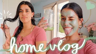 day at home vlog: cutting my hair & self care routine ☻